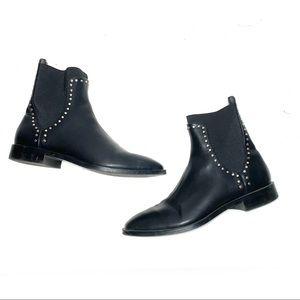 Zara Trafaluc Black Studded Boots Sz 38